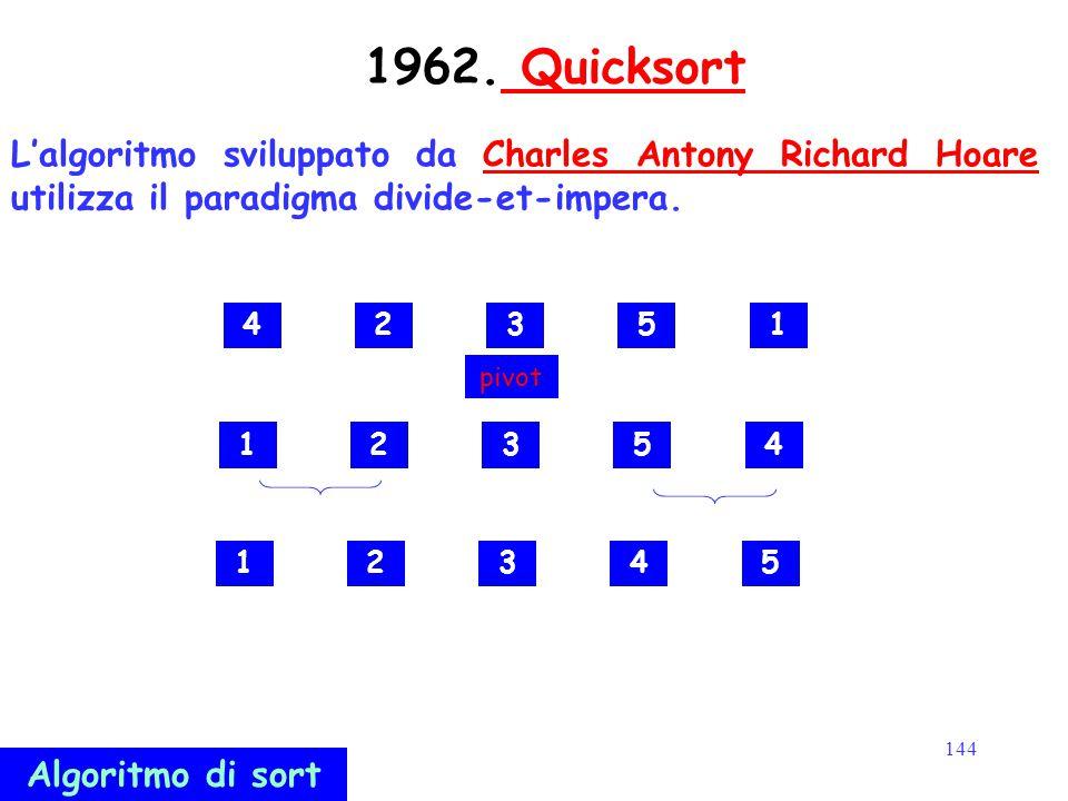 144 1962. Quicksort Quicksort L'algoritmo sviluppato da Charles Antony Richard Hoare utilizza il paradigma divide-et-impera.Charles Antony Richard Hoa