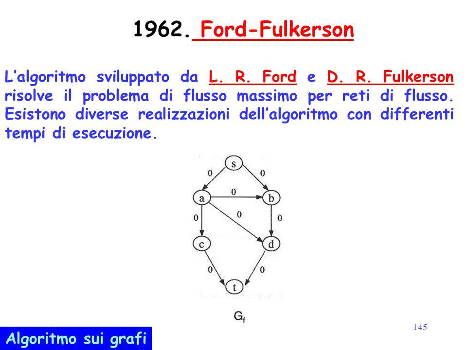 145 1962. Ford-Fulkerson Ford-Fulkerson L'algoritmo sviluppato da L. R. Ford e D. R. Fulkerson risolve il problema di flusso massimo per reti di fluss