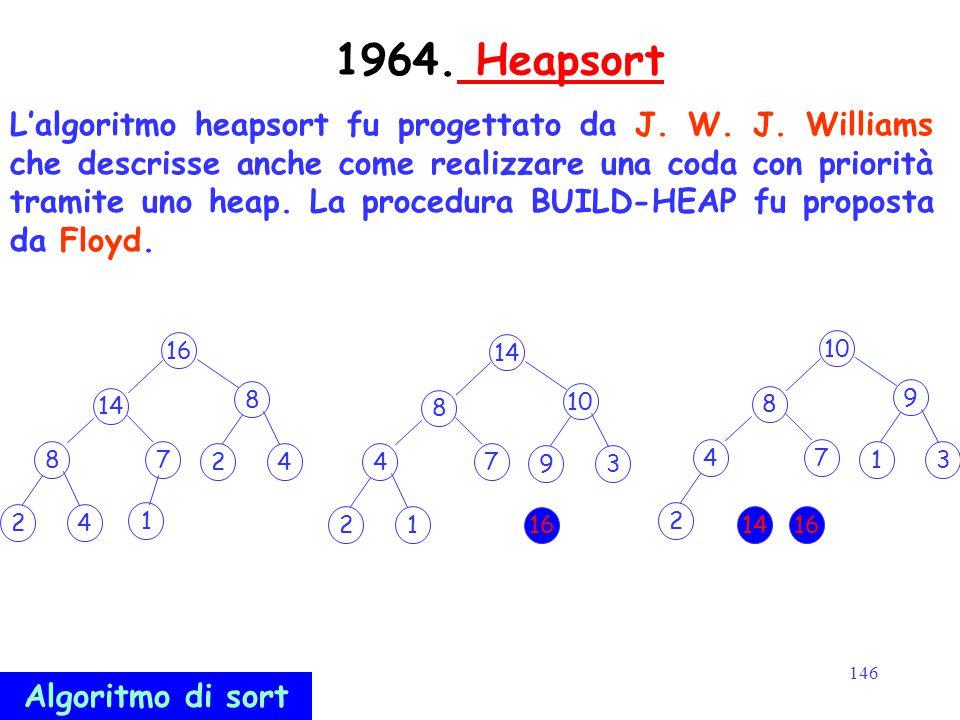 146 1964. Heapsort Heapsort L'algoritmo heapsort fu progettato da J. W. J. Williams che descrisse anche come realizzare una coda con priorità tramite