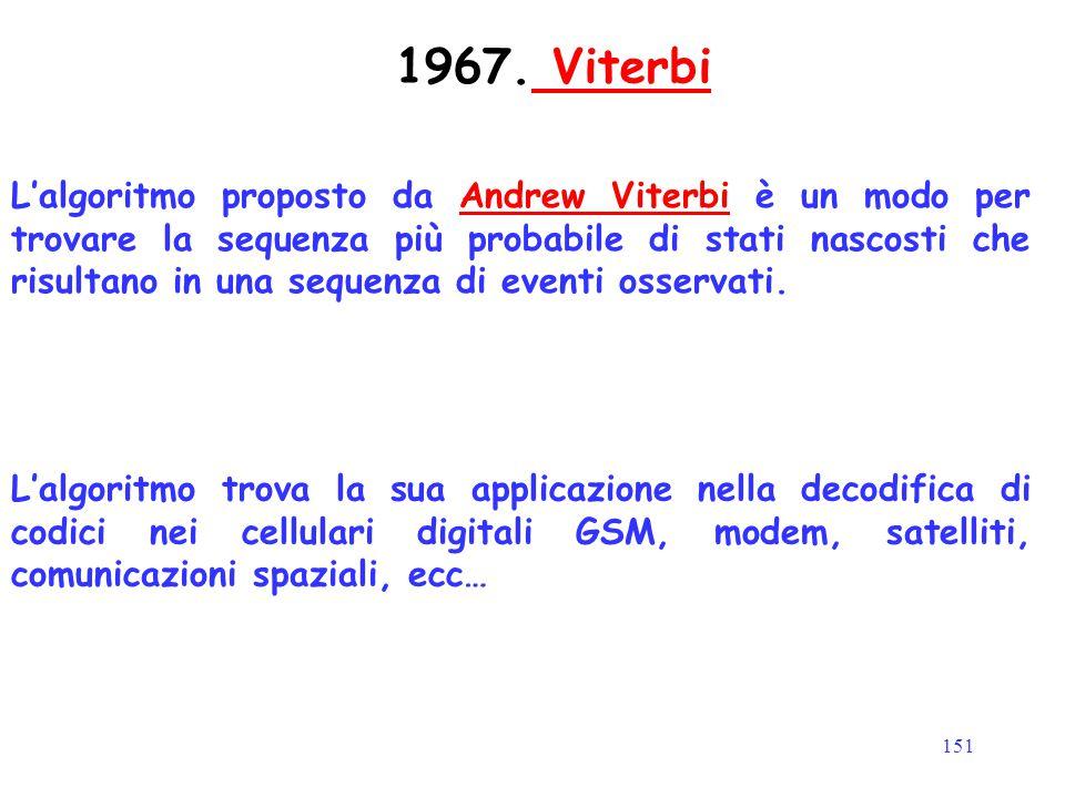 151 1967. Viterbi Viterbi L'algoritmo proposto da Andrew Viterbi è un modo per trovare la sequenza più probabile di stati nascosti che risultano in un