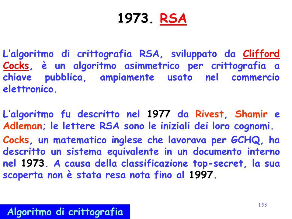 153 1973. RSARSA L'algoritmo di crittografia RSA, sviluppato da Clifford Cocks, è un algoritmo asimmetrico per crittografia a chiave pubblica, ampiame