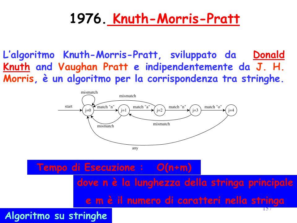 157 1976. Knuth-Morris-Pratt Knuth-Morris-Pratt L'algoritmo Knuth-Morris-Pratt, sviluppato da Donald Knuth and Vaughan Pratt e indipendentemente da J.