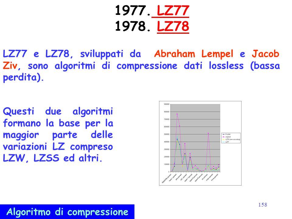 158 1977. LZ77 1978. LZ78 LZ77LZ78 LZ77 e LZ78, sviluppati da Abraham Lempel e Jacob Ziv, sono algoritmi di compressione dati lossless (bassa perdita)