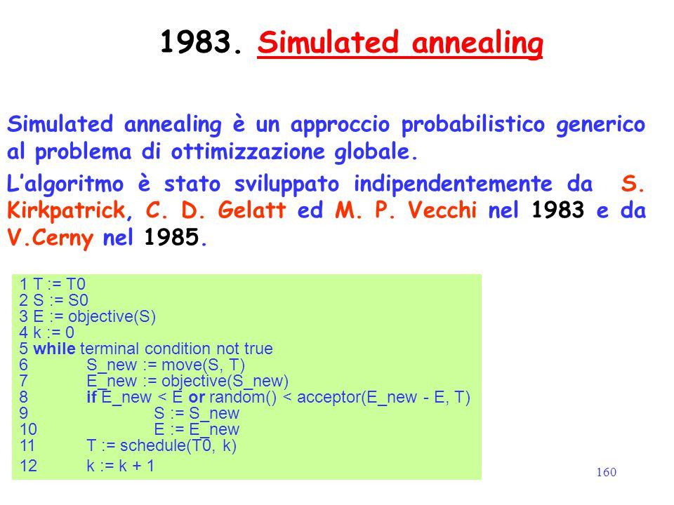 160 1983. Simulated annealingSimulated annealing Simulated annealing è un approccio probabilistico generico al problema di ottimizzazione globale. L'a