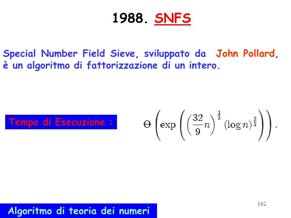 162 1988. SNFSSNFS Special Number Field Sieve, sviluppato da John Pollard, è un algoritmo di fattorizzazione di un intero. Algoritmo di teoria dei num