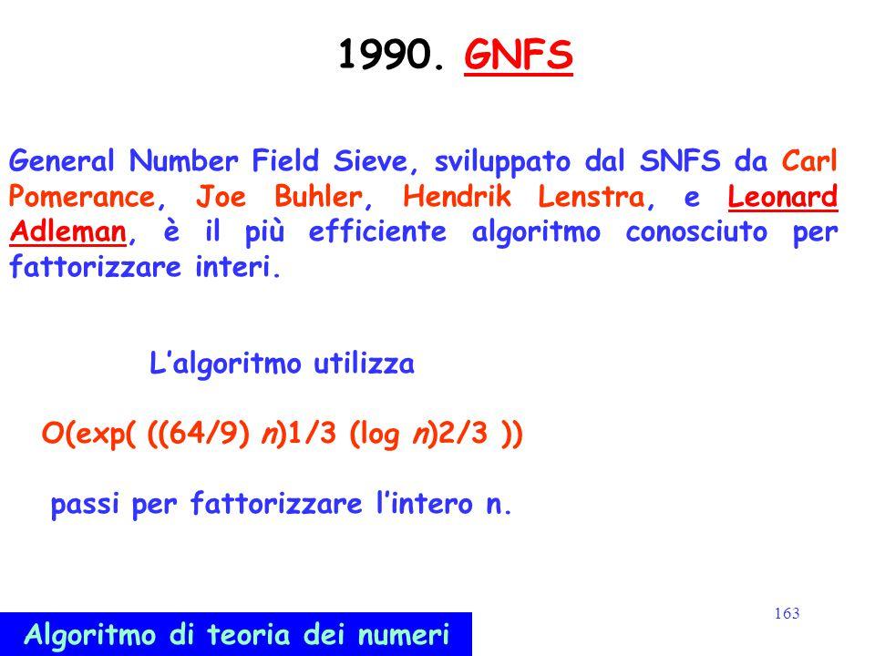 163 1990. GNFSGNFS General Number Field Sieve, sviluppato dal SNFS da Carl Pomerance, Joe Buhler, Hendrik Lenstra, e Leonard Adleman, è il più efficie