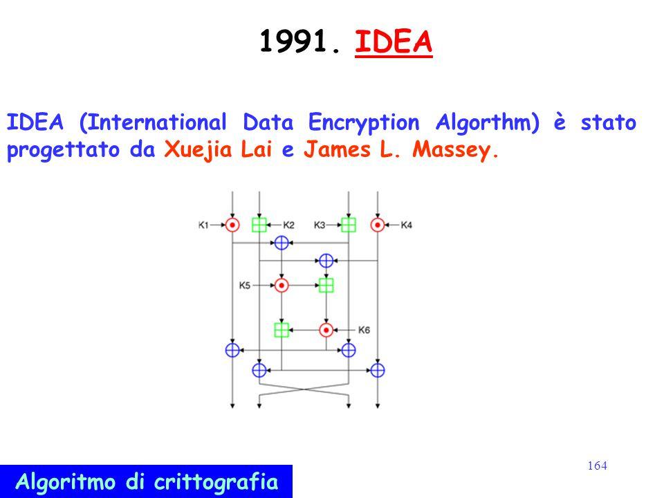 164 1991. IDEAIDEA IDEA (International Data Encryption Algorthm) è stato progettato da Xuejia Lai e James L. Massey. Algoritmo di crittografia