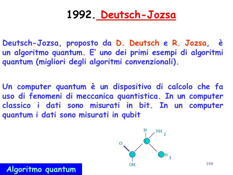 166 1992. Deutsch-Jozsa Deutsch-Jozsa Deutsch-Jozsa, proposto da D. Deutsch e R. Jozsa, è un algoritmo quantum. E' uno dei primi esempi di algoritmi q