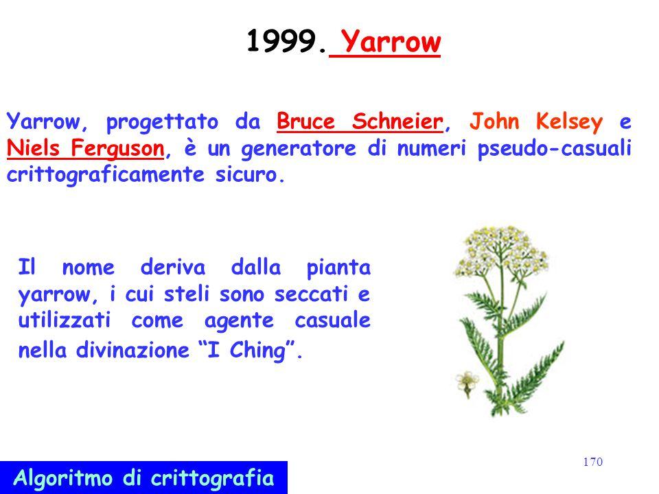 170 1999. Yarrow Yarrow Yarrow, progettato da Bruce Schneier, John Kelsey e Niels Ferguson, è un generatore di numeri pseudo-casuali crittograficament