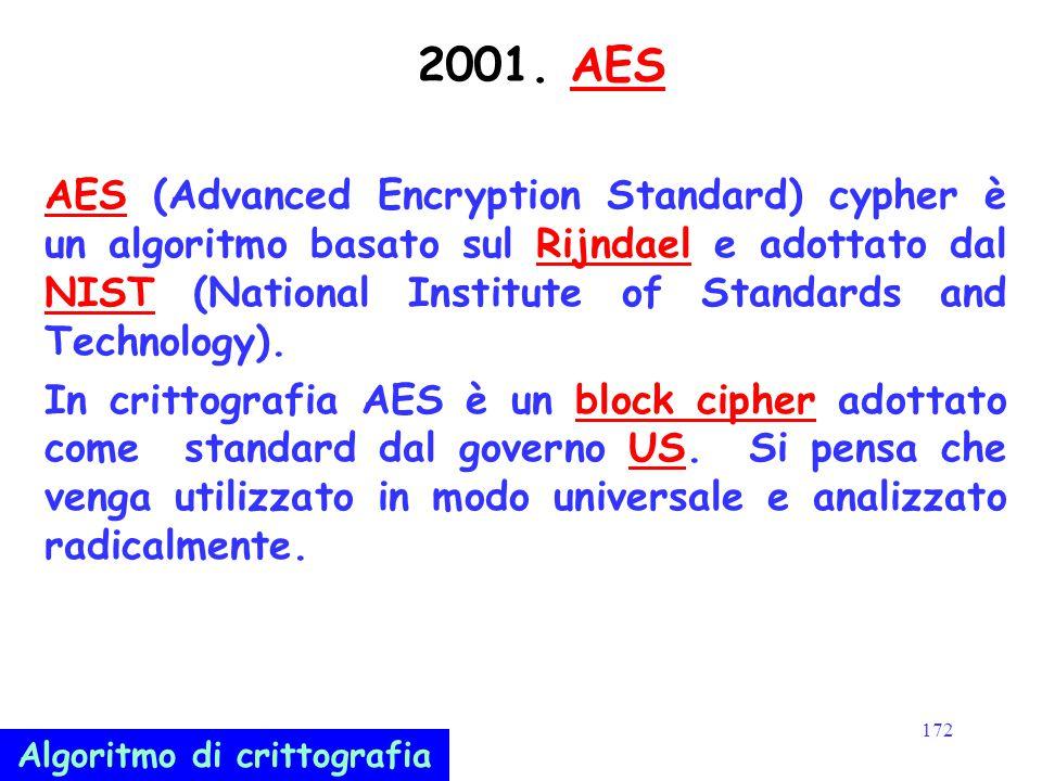 172 2001. AESAES AES (Advanced Encryption Standard) cypher è un algoritmo basato sul Rijndael e adottato dal NIST (National Institute of Standards and