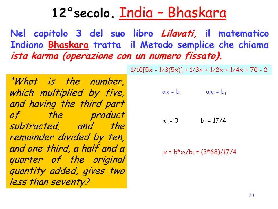 23 12°secolo. India – Bhaskara Nel capitolo 3 del suo libro Lilavati, il matematico Indiano Bhaskara tratta il Metodo semplice che chiama ista karma (