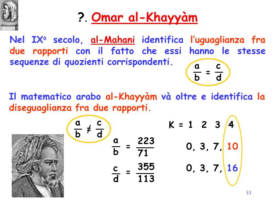 31 Nel IX o secolo, al-Mahani identifica l'uguaglianza fra due rapporti con il fatto che essi hanno le stesse sequenze di quozienti corrispondenti.al-