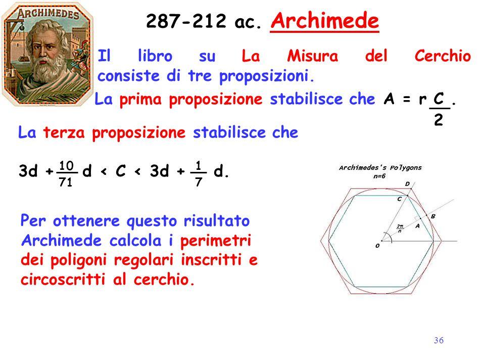 36 Il libro su La Misura del Cerchio consiste di tre proposizioni. 287-212 ac. Archimede La prima proposizione stabilisce che A = r C. La terza propos