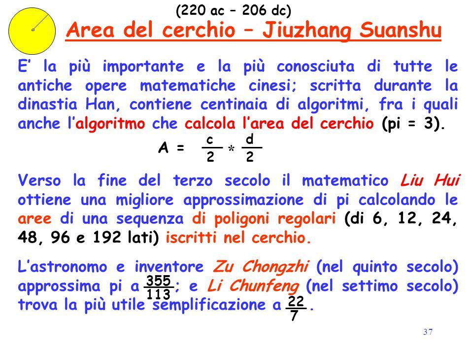 37 E' la più importante e la più conosciuta di tutte le antiche opere matematiche cinesi; scritta durante la dinastia Han, contiene centinaia di algor