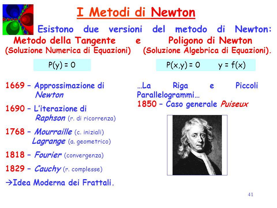 41 I Metodi di NewtonNewton Esistono due versioni del metodo di Newton: Metodo della Tangente e Poligono di Newton (Soluzione Numerica di Equazioni) (