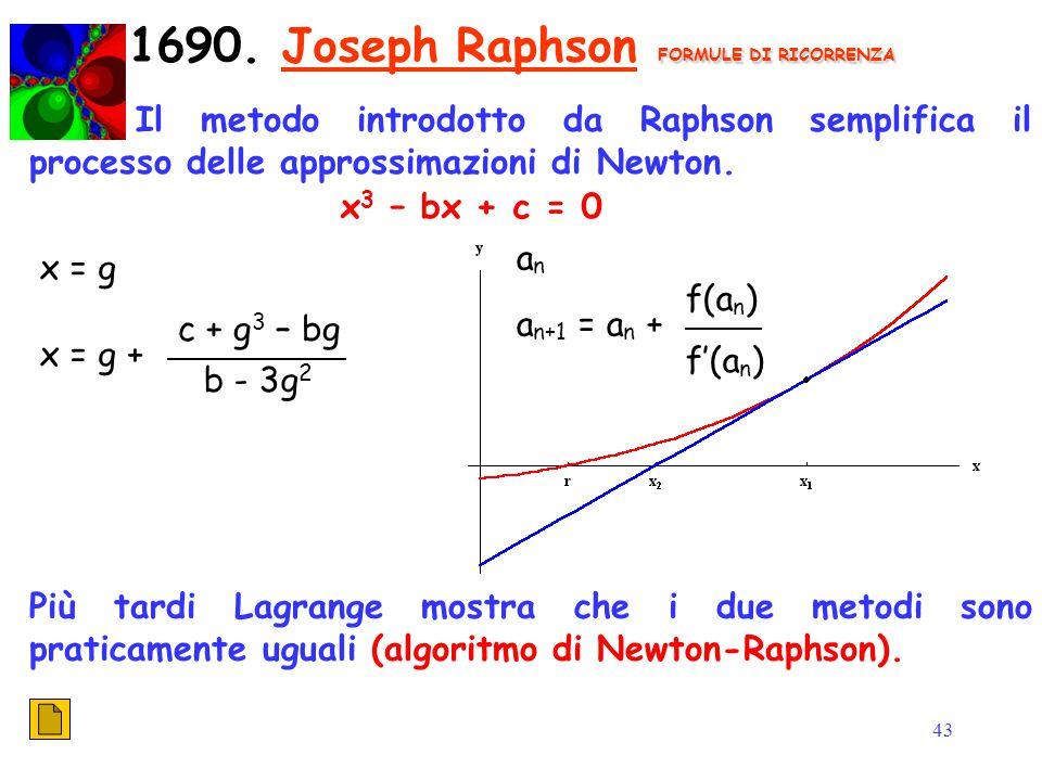 43 FORMULE DI RICORRENZA 1690. Joseph Raphson FORMULE DI RICORRENZA Il metodo introdotto da Raphson semplifica il processo delle approssimazioni di Ne