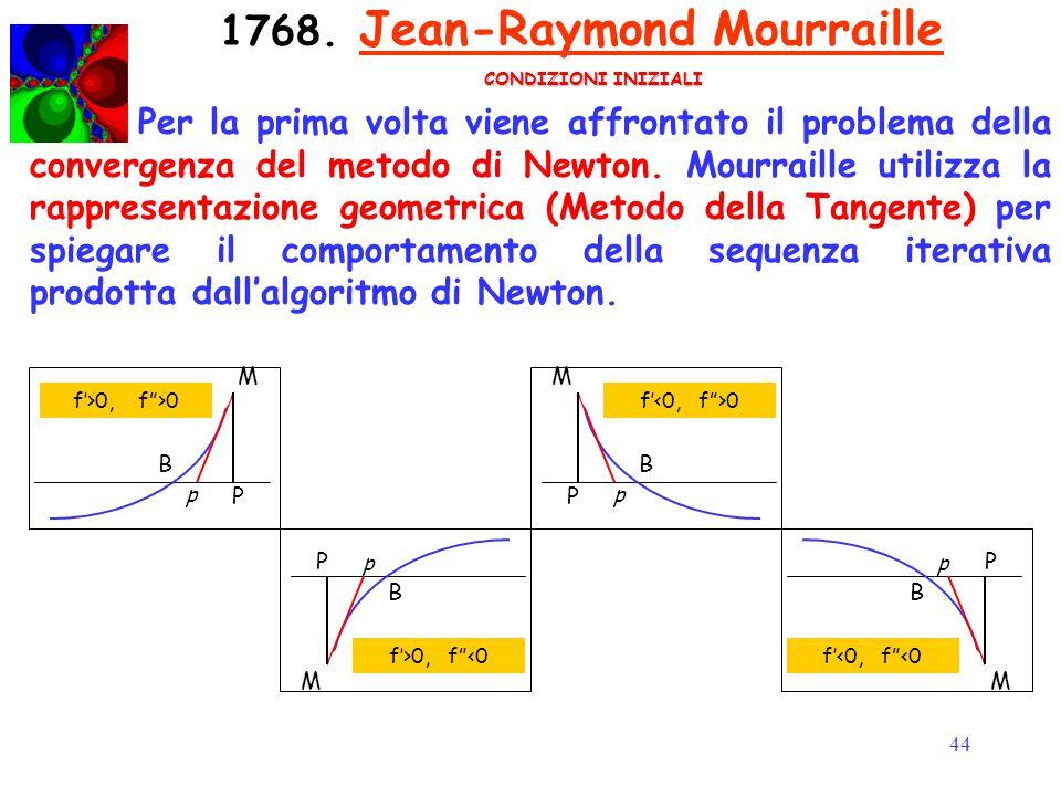 44 1768. Jean-Raymond Mourraille Per la prima volta viene affrontato il problema della convergenza del metodo di Newton. Mourraille utilizza la rappre