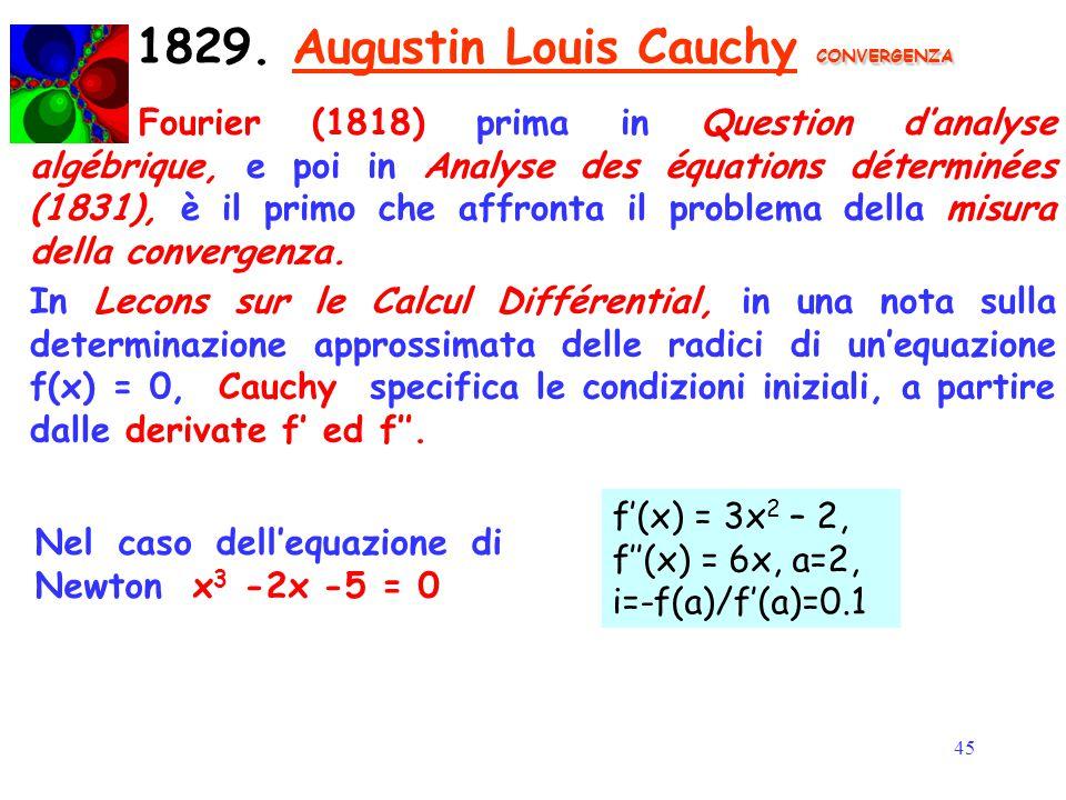 45 CONVERGENZA 1829. Augustin Louis Cauchy CONVERGENZA Fourier (1818) prima in Question d'analyse algébrique, e poi in Analyse des équations déterminé