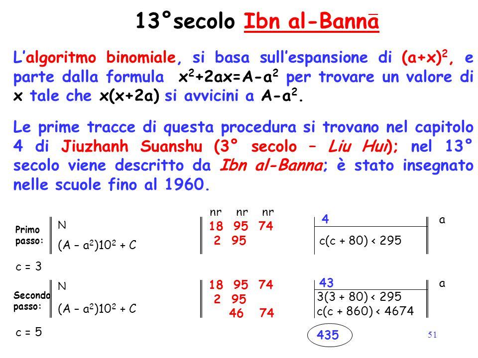 51 13°secolo Ibn al-BannaIbn al-Banna L'algoritmo binomiale, si basa sull'espansione di (a+x) 2, e parte dalla formula x 2 +2ax=A-a 2 per trovare un v