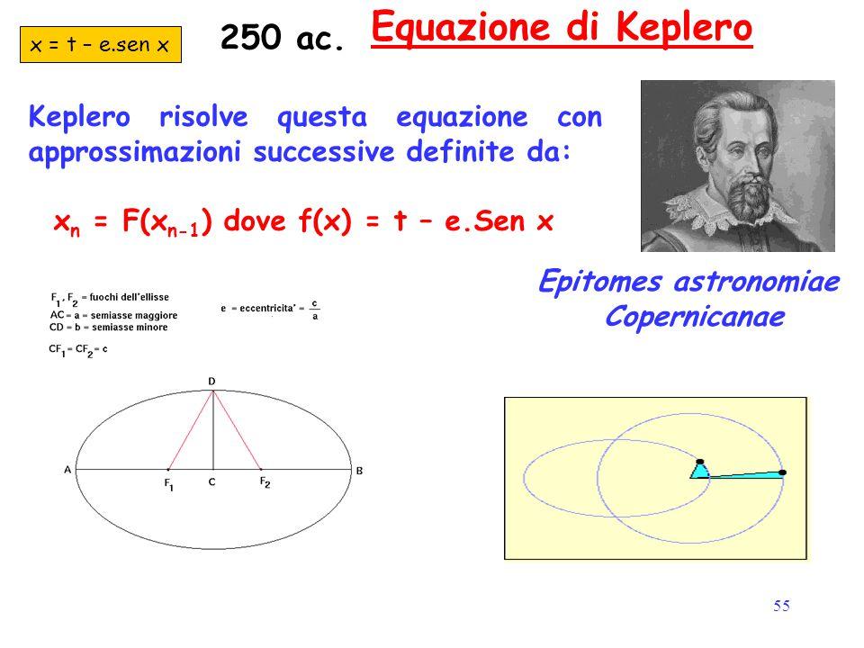 55 Equazione di Keplero Keplero risolve questa equazione con approssimazioni successive definite da: x n = F(x n-1 ) dove f(x) = t – e.Sen x x = t – e