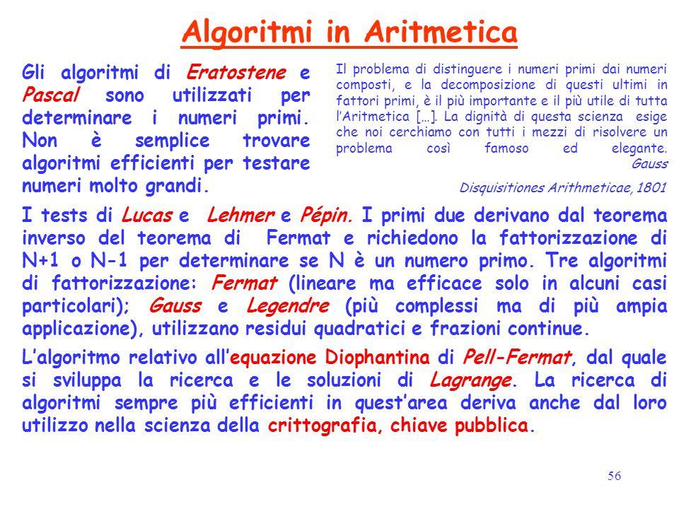 56 Algoritmi in Aritmetica Il problema di distinguere i numeri primi dai numeri composti, e la decomposizione di questi ultimi in fattori primi, è il