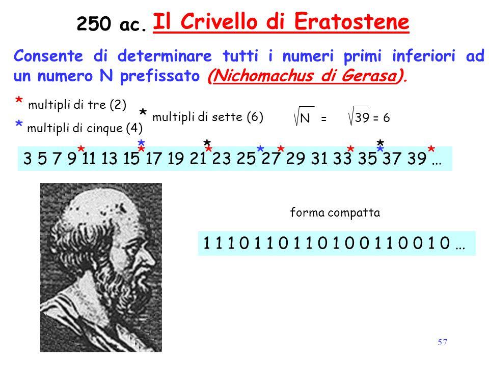 57 Il Crivello di Eratostene Consente di determinare tutti i numeri primi inferiori ad un numero N prefissato (Nichomachus di Gerasa).Nichomachus di G