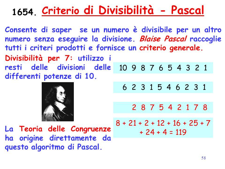 58 Criterio di Divisibilità - PascalCriterio di Divisibilità - Pascal Consente di saper se un numero è divisibile per un altro numero senza eseguire l