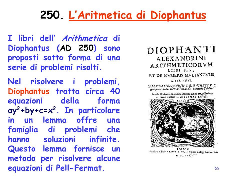 69 250. L'Aritmetica di Diophantus I libri dell' Arithmetica di Diophantus (AD 250) sono proposti sotto forma di una serie di problemi risolti. Nel ri