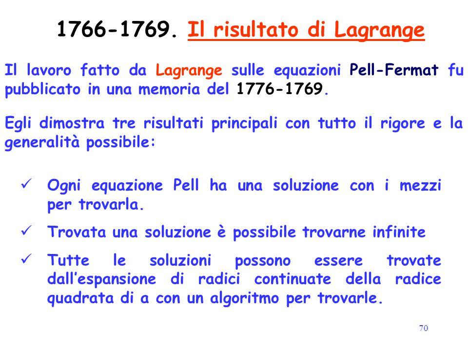 70 1766-1769. Il risultato di Lagrange Il lavoro fatto da Lagrange sulle equazioni Pell-Fermat fu pubblicato in una memoria del 1776-1769. Ogni equazi