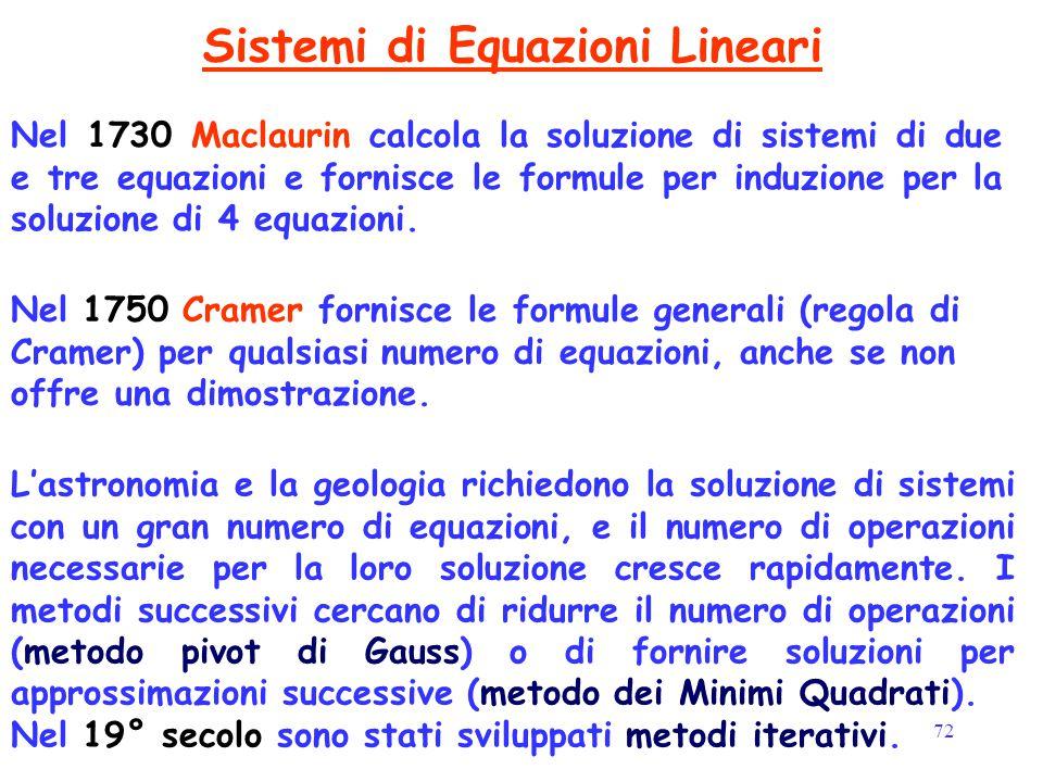 72 Sistemi di Equazioni Lineari Nel 1730 Maclaurin calcola la soluzione di sistemi di due e tre equazioni e fornisce le formule per induzione per la s