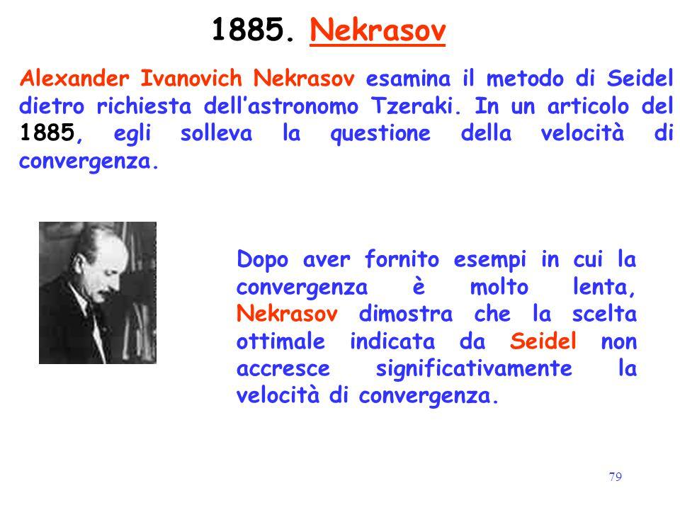 79 1885. Nekrasov Alexander Ivanovich Nekrasov esamina il metodo di Seidel dietro richiesta dell'astronomo Tzeraki. In un articolo del 1885, egli soll