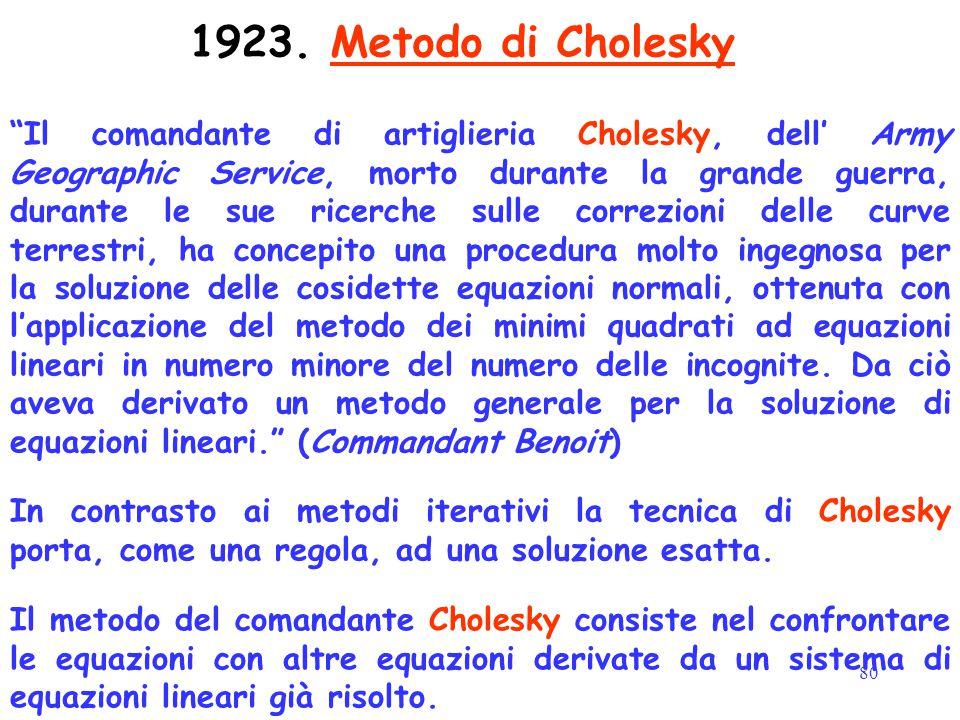 80 1923. Metodo di Cholesky In contrasto ai metodi iterativi la tecnica di Cholesky porta, come una regola, ad una soluzione esatta. Il metodo del com