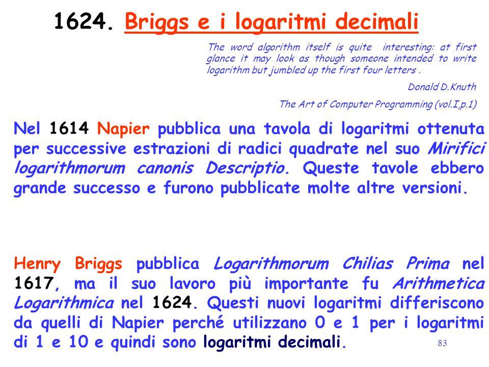 83 1624. Briggs e i logaritmi decimali Nel 1614 Napier pubblica una tavola di logaritmi ottenuta per successive estrazioni di radici quadrate nel suo