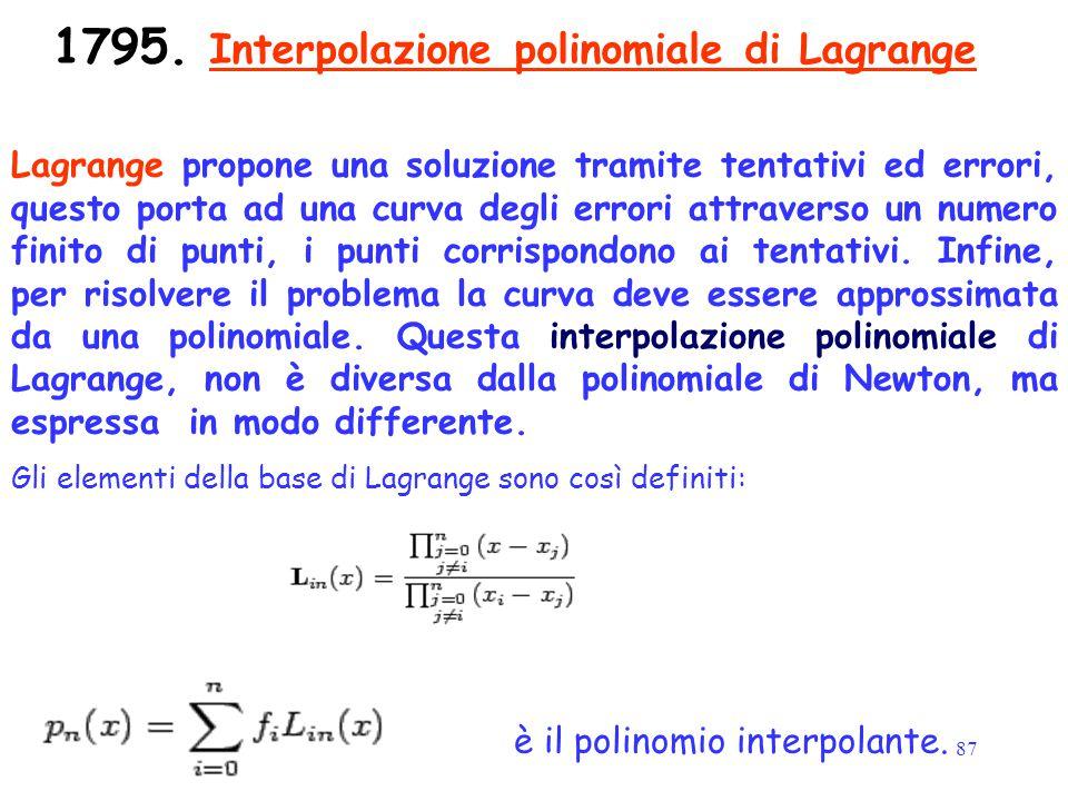 87 1795. Interpolazione polinomiale di Lagrange Gli elementi della base di Lagrange sono così definiti: è il polinomio interpolante. Lagrange propone