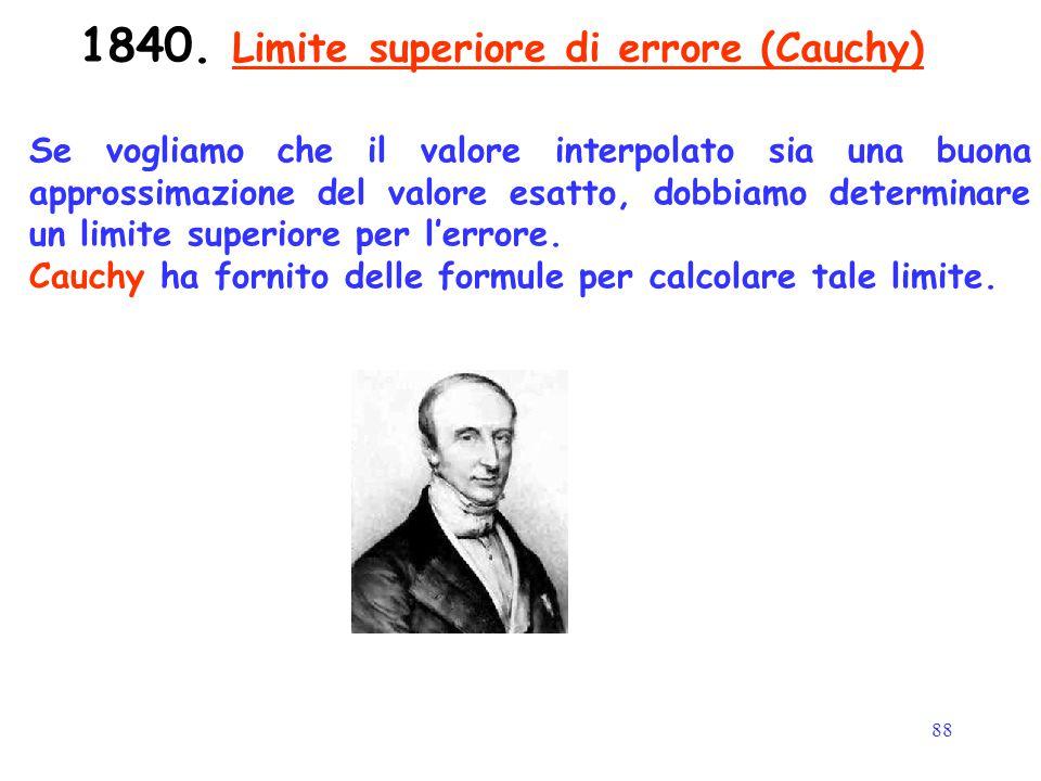 88 1840. Limite superiore di errore (Cauchy) Se vogliamo che il valore interpolato sia una buona approssimazione del valore esatto, dobbiamo determina