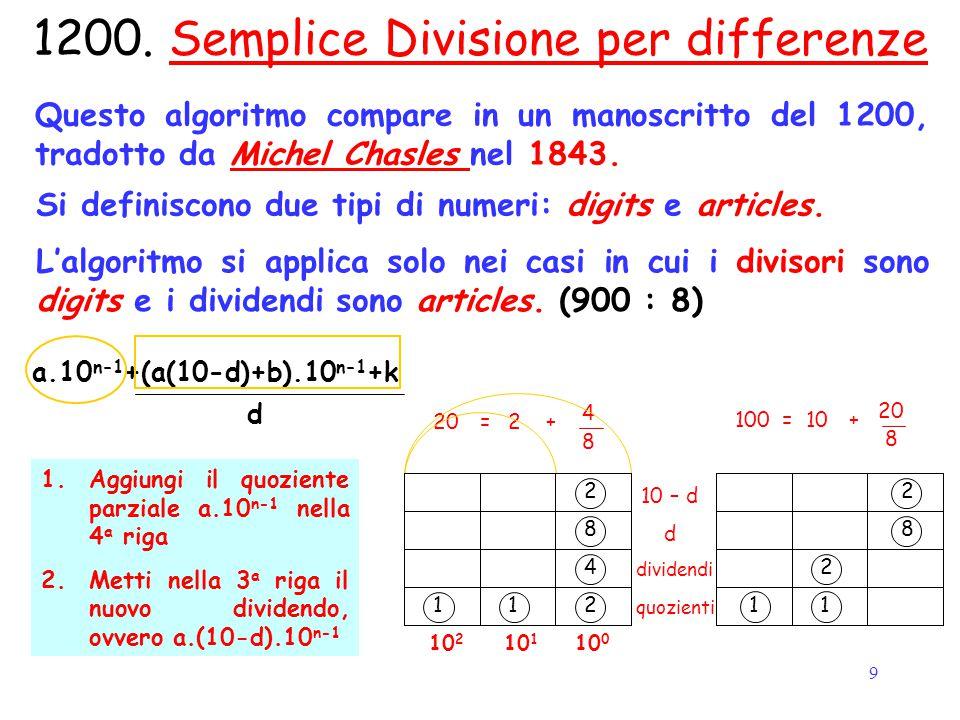9 Start 100 8 18010=+ 1200. Semplice Divisione per differenze Questo algoritmo compare in un manoscritto del 1200, tradotto da Michel Chasles nel 1843