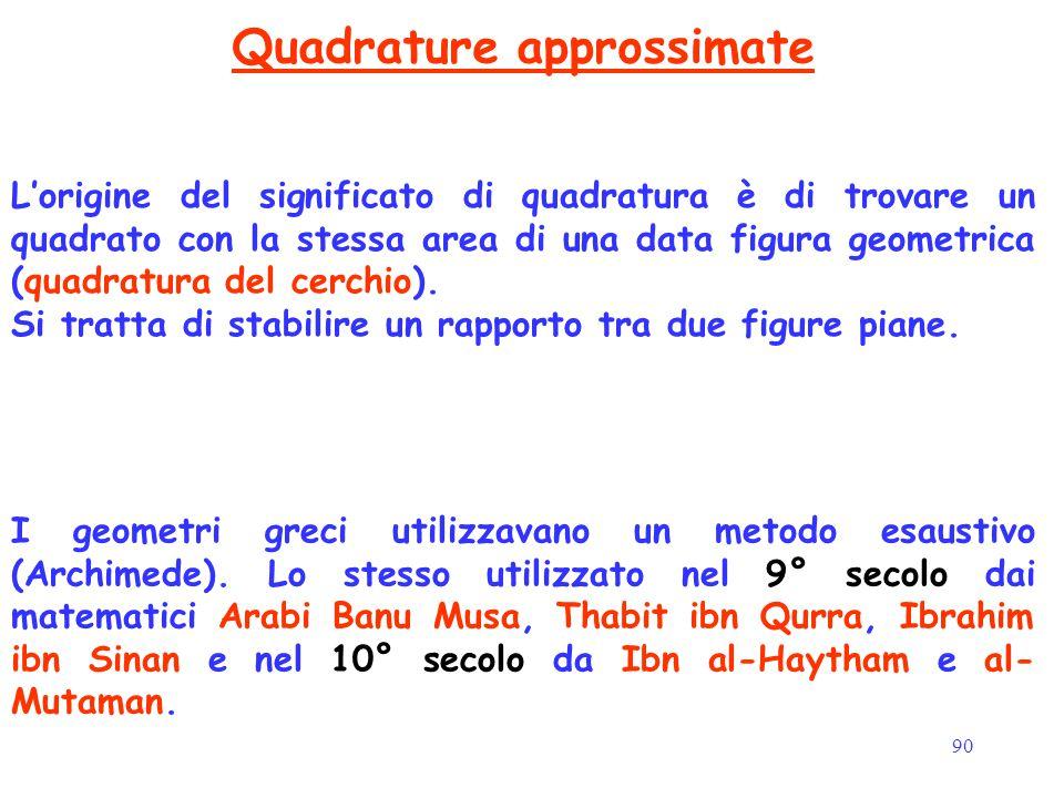 90 Quadrature approssimate L'origine del significato di quadratura è di trovare un quadrato con la stessa area di una data figura geometrica (quadratu