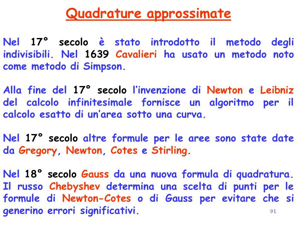 91 Quadrature approssimate Nel 17° secolo altre formule per le aree sono state date da Gregory, Newton, Cotes e Stirling. Nel 17° secolo è stato intro