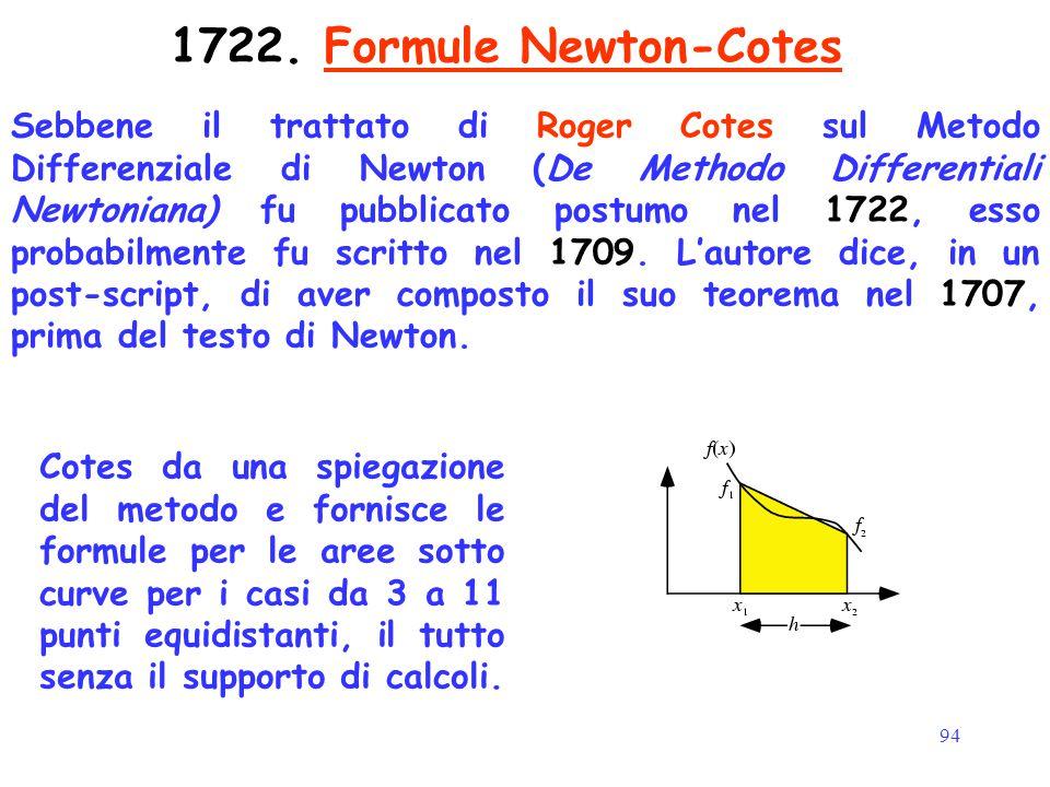 94 1722. Formule Newton-Cotes Sebbene il trattato di Roger Cotes sul Metodo Differenziale di Newton (De Methodo Differentiali Newtoniana) fu pubblicat