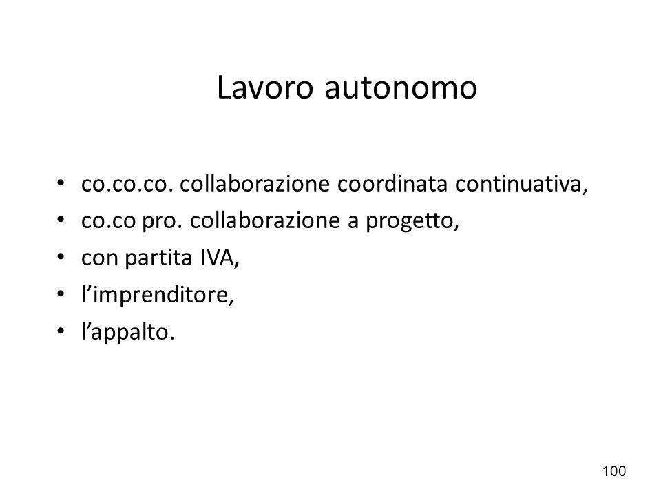 100 Lavoro autonomo co.co.co. collaborazione coordinata continuativa, co.co pro. collaborazione a progetto, con partita IVA, l'imprenditore, l'appalto