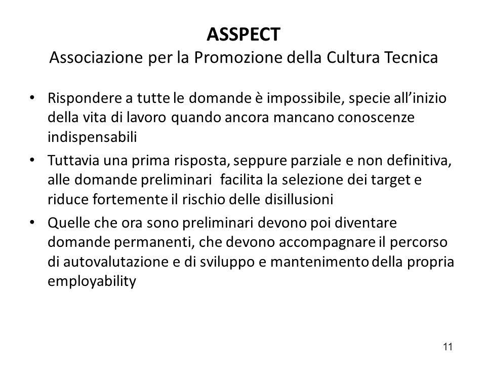 11 ASSPECT Associazione per la Promozione della Cultura Tecnica Rispondere a tutte le domande è impossibile, specie all'inizio della vita di lavoro qu
