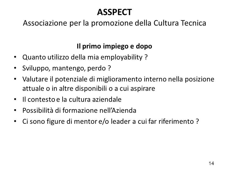 14 ASSPECT Associazione per la promozione della Cultura Tecnica Il primo impiego e dopo Quanto utilizzo della mia employability ? Sviluppo, mantengo,