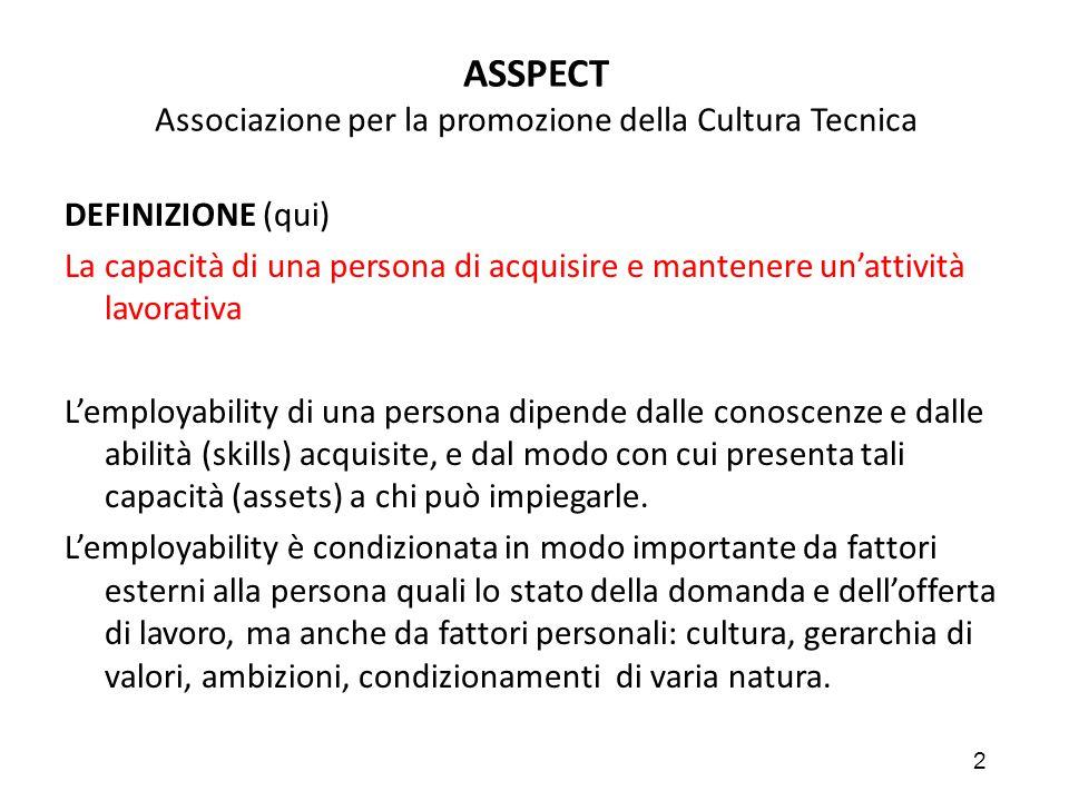 2 ASSPECT Associazione per la promozione della Cultura Tecnica DEFINIZIONE (qui) La capacità di una persona di acquisire e mantenere un'attività lavor