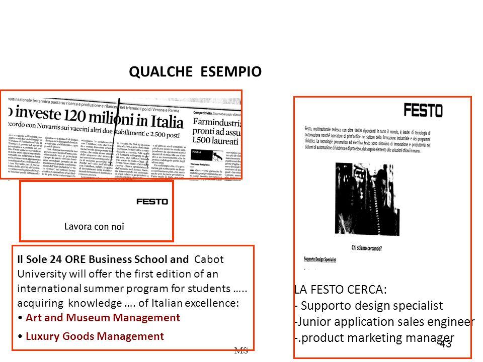 43 MS LA FESTO CERCA: - Supporto design specialist -Junior application sales engineer -.product marketing manager Il Sole 24 ORE Business School and C