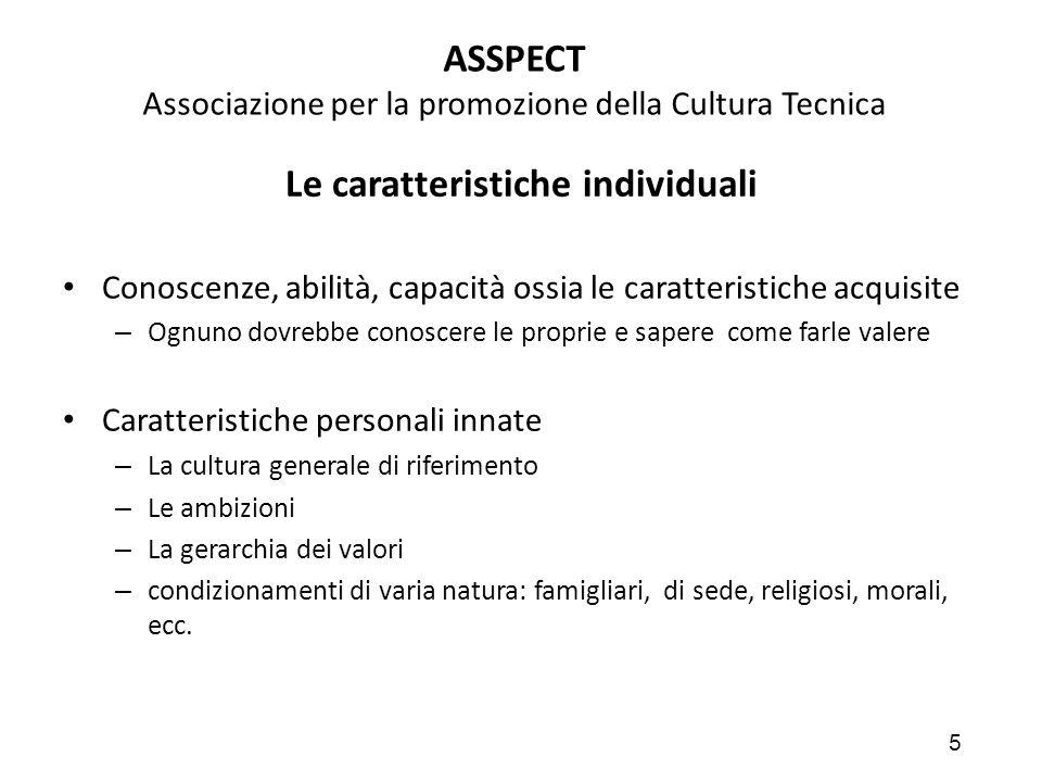 5 ASSPECT Associazione per la promozione della Cultura Tecnica Le caratteristiche individuali Conoscenze, abilità, capacità ossia le caratteristiche a