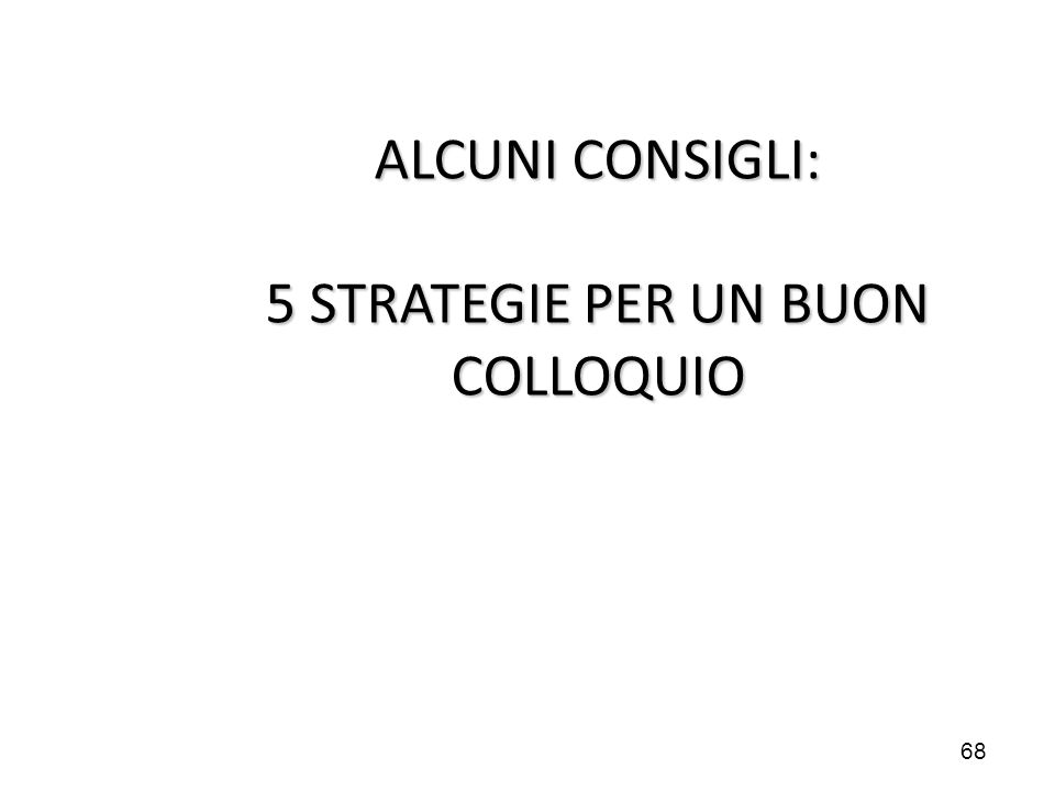 68 ALCUNI CONSIGLI: 5 STRATEGIE PER UN BUON COLLOQUIO