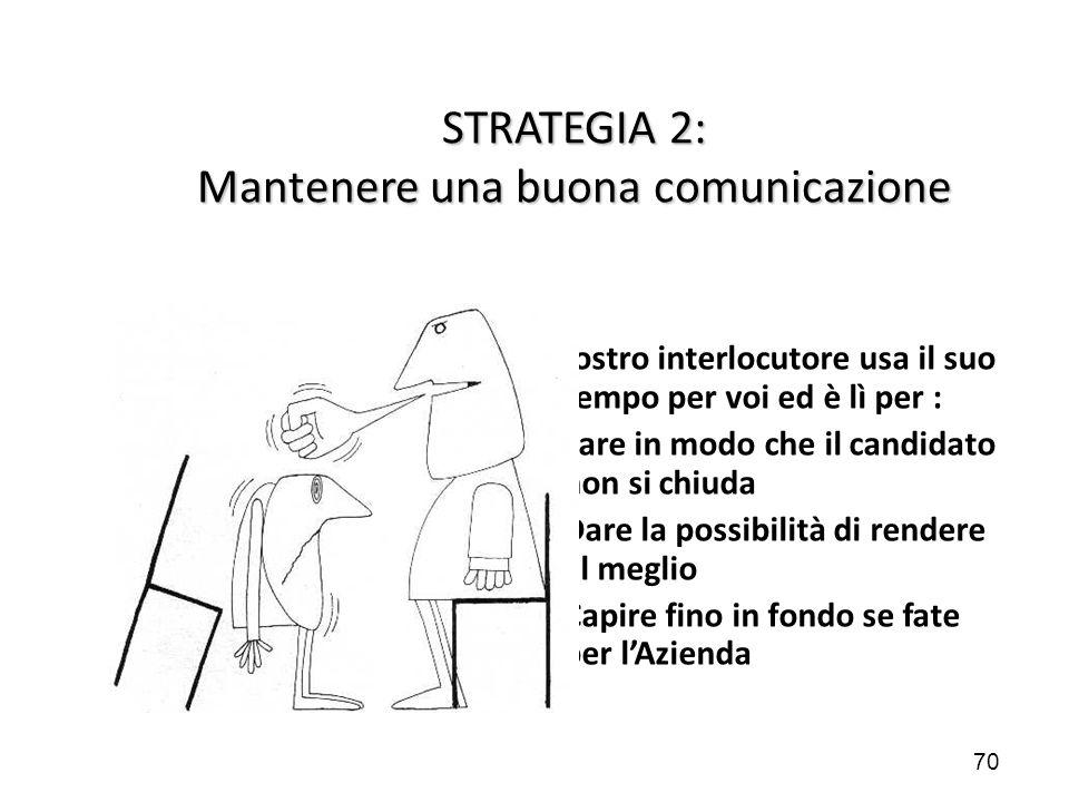 70 STRATEGIA 2: Mantenere una buona comunicazione Il vostro interlocutore usa il suo tempo per voi ed è lì per : Fare in modo che il candidato non si