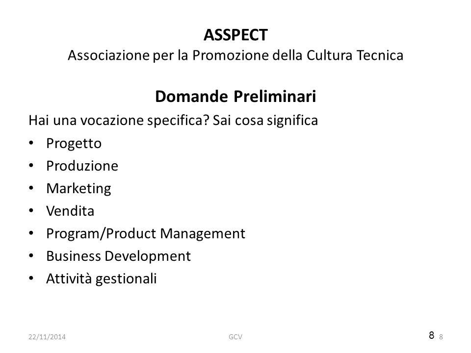 8 ASSPECT Associazione per la Promozione della Cultura Tecnica Domande Preliminari Hai una vocazione specifica? Sai cosa significa Progetto Produzione