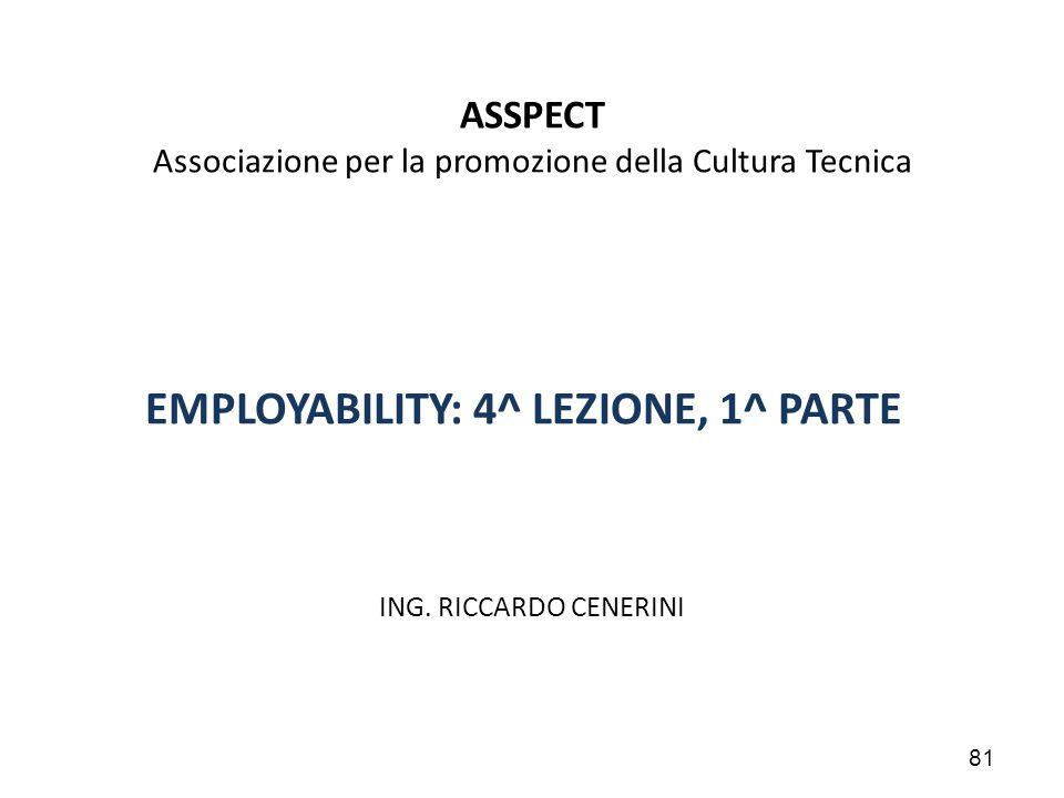81 ASSPECT Associazione per la promozione della Cultura Tecnica EMPLOYABILITY: 4^ LEZIONE, 1^ PARTE ING. RICCARDO CENERINI