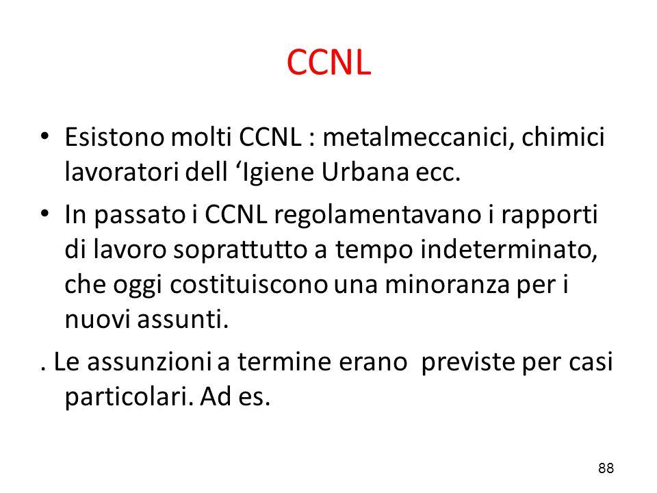 88 CCNL Esistono molti CCNL : metalmeccanici, chimici lavoratori dell 'Igiene Urbana ecc. In passato i CCNL regolamentavano i rapporti di lavoro sopra